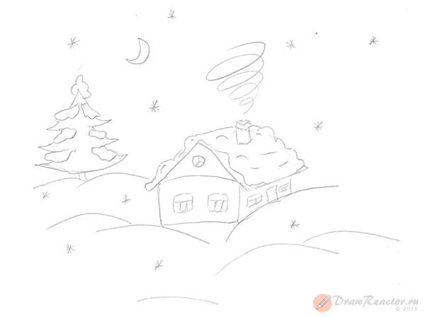 Как нарисовать зиму. Шаг 3.