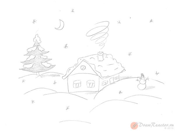 Как нарисовать зиму. Шаг 4.