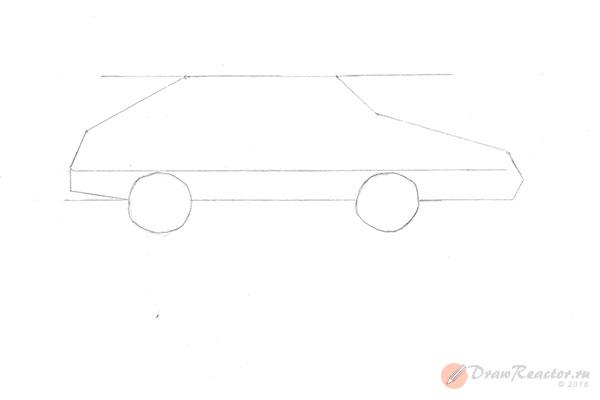 Как нарисовать машину ВАЗ. Шаг 3.