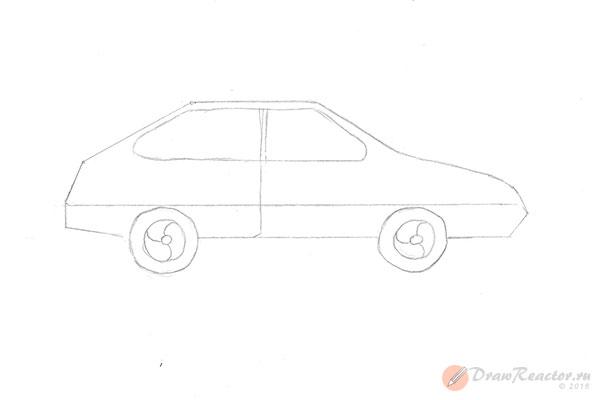 Как нарисовать машину ВАЗ. Шаг 4.