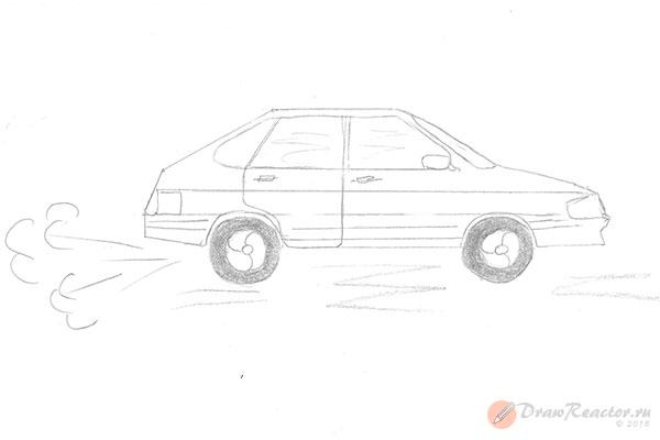 Как нарисовать машину ВАЗ. Шаг 5.