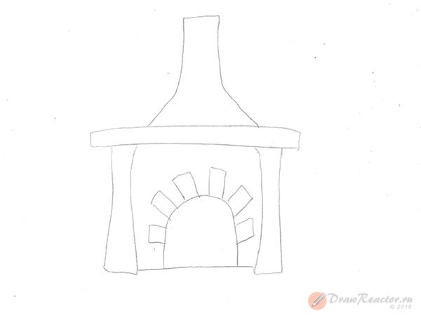 Как нарисовать камин. Шаг 2.