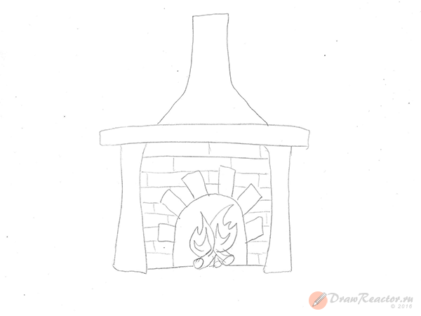 Как нарисовать камин. Шаг 3.