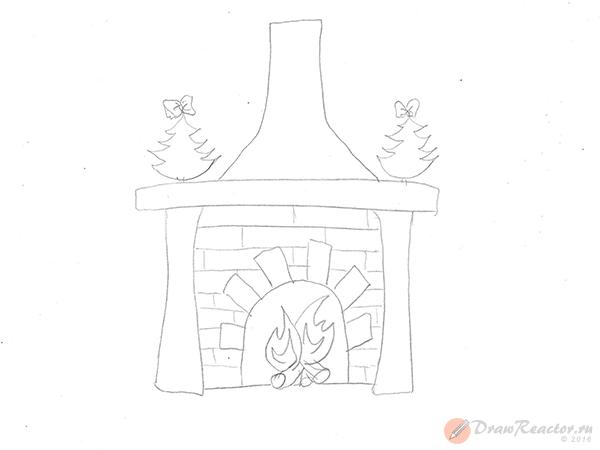 Как нарисовать камин. Шаг 4.