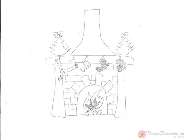 Как нарисовать камин. Шаг 5.