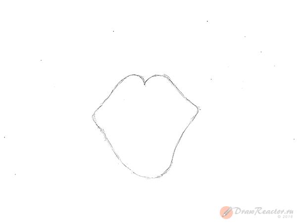 Рисуем губы карандашом. Шаг 1.