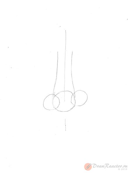 Как рисовать нос. Шаг 2.