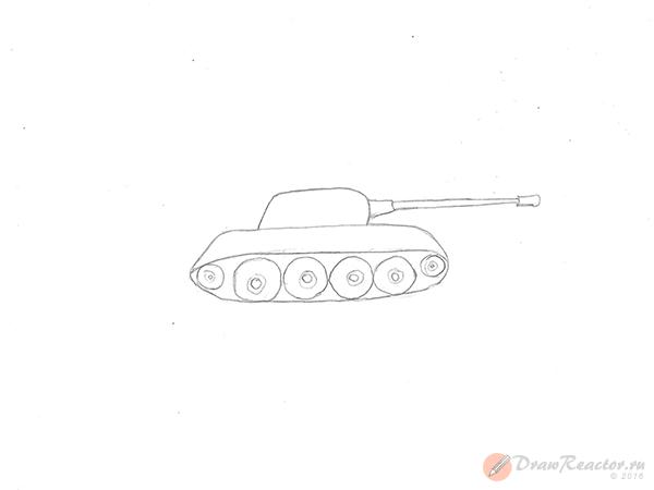 Как нарисовать танк. Шаг 3.