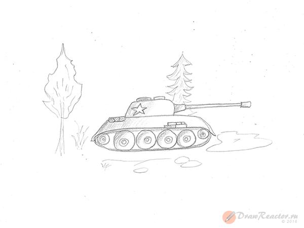Как нарисовать танк. Шаг 5.