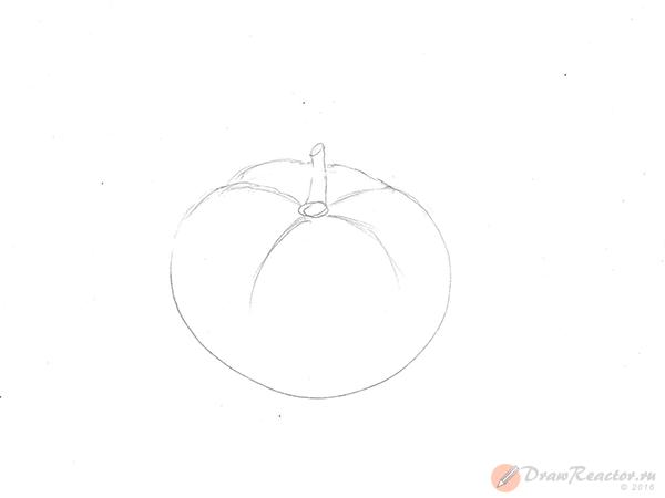 Как нарисовать помидор. Шаг 3.