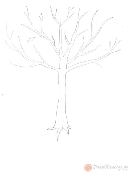 Как нарисовать дерево. Шаг 2.