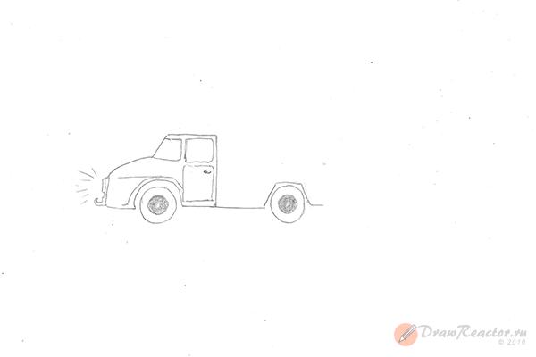 Как нарисовать грузовик. Шаг 3.