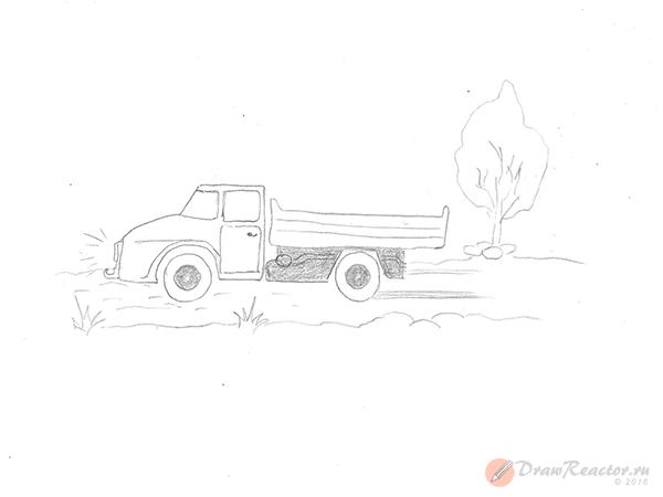 Как нарисовать грузовик. Шаг 5.
