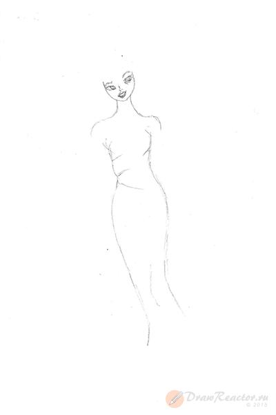 Как нарисовать Барби. Шаг 3.