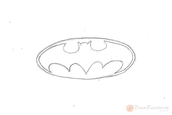 Как нарисовать знак Бэтмена. Шаг 4.