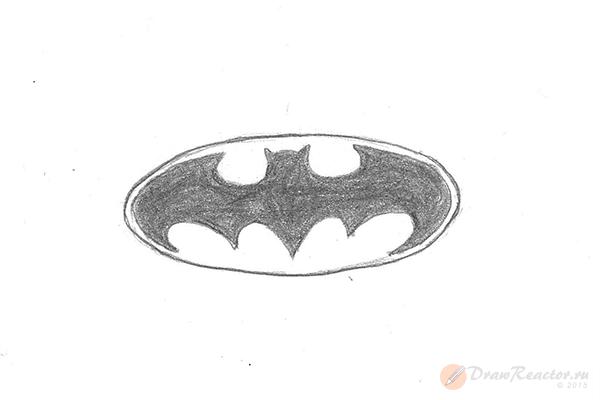 Как нарисовать знак Бэтмена. Шаг 5.
