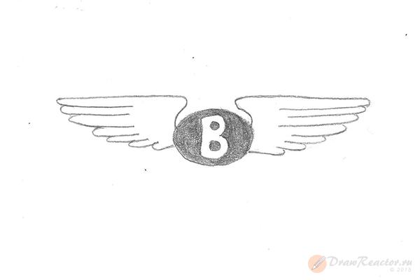 Как нарисовать значок Бентли. Шаг 3.
