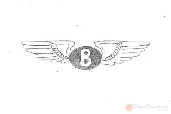 Как нарисовать значок Бентли. Шаг 5.