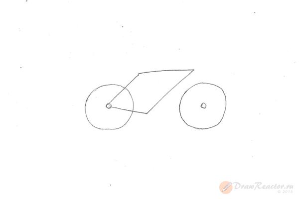 Как нарисовать велосипед. Шаг 2.