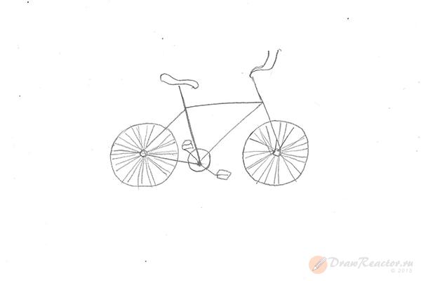 Как нарисовать велосипед. Шаг 4.