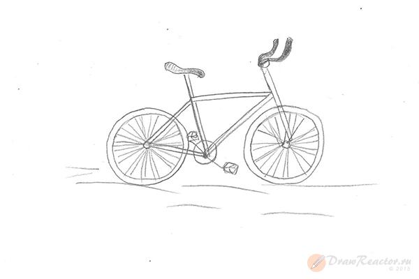 Как нарисовать велосипед. Шаг 5.