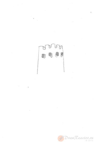 Как нарисовать замок. Шаг 1.