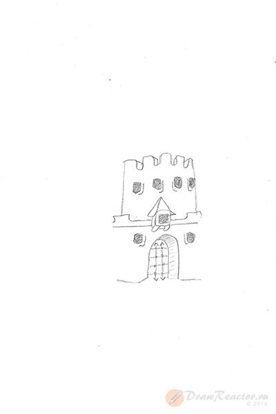 Как нарисовать замок. Шаг 2.