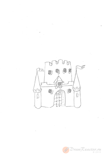 Как нарисовать замок. Шаг 3.