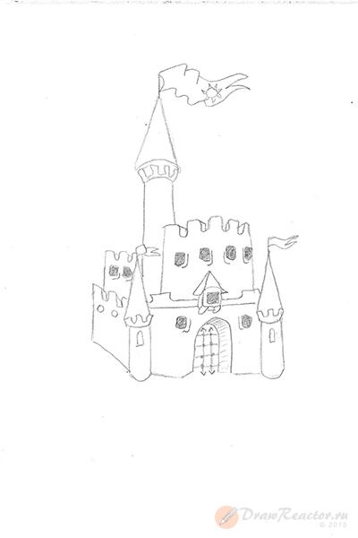 Как нарисовать замок. Шаг 4.