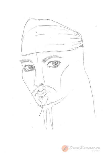 Как нарисовать Джека Воробья. Шаг 4.