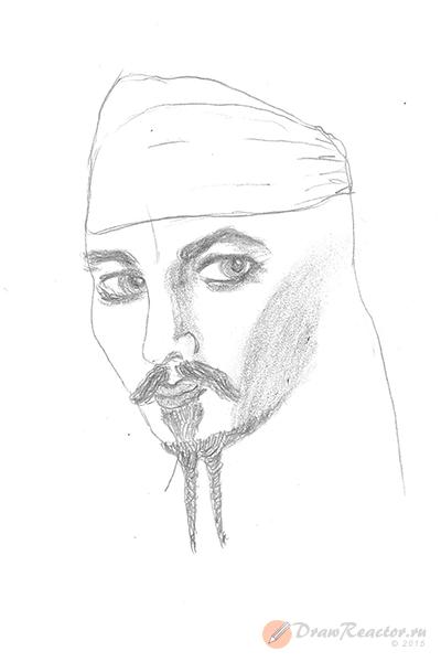 Как нарисовать Джека Воробья. Шаг 5.