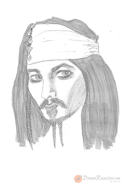 Как нарисовать Джека Воробья. Шаг 6.