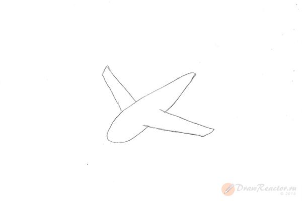 Как нарисовать самолёт. Шаг 2.