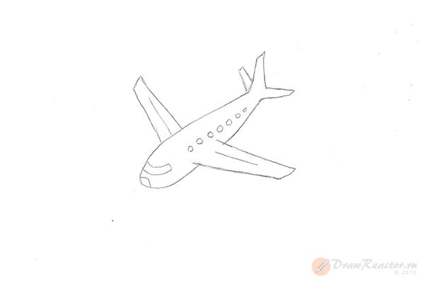 Как нарисовать самолёт. Шаг 4.
