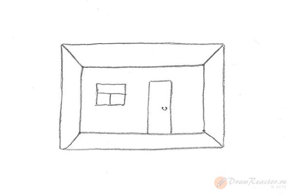 Как нарисовать комнату. Шаг 4.
