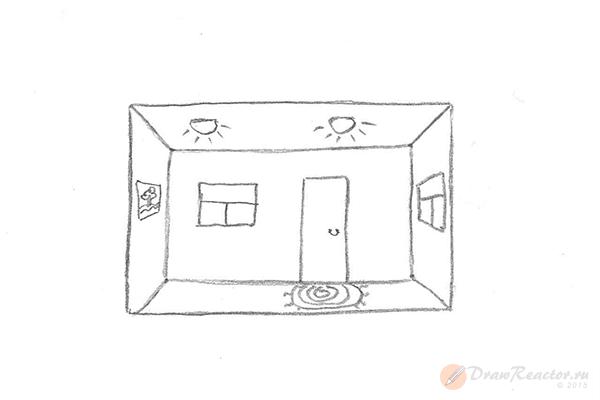 Как нарисовать комнату. Шаг 5.