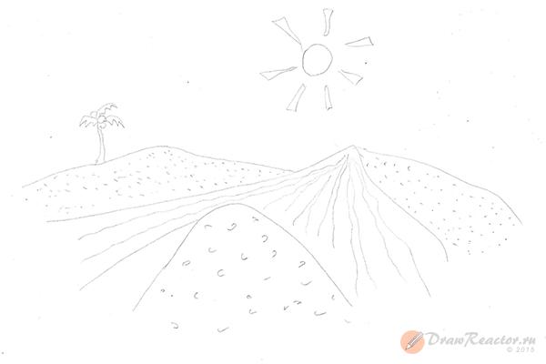 Как нарисовать песок. Шаг 4.