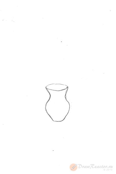 Как нарисовать вазу с цветами. Шаг 1.