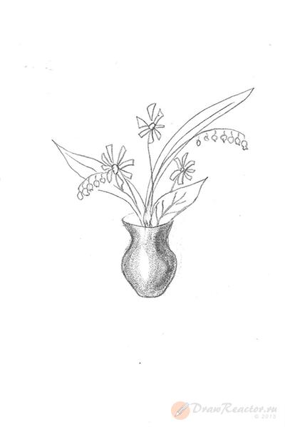 Как нарисовать вазу с цветами. Шаг 4.