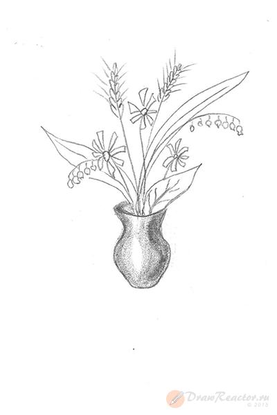 Как нарисовать вазу с цветами. Шаг 5.