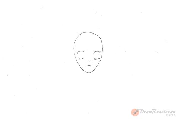 Как нарисовать аниме девушку. Шаг 2.