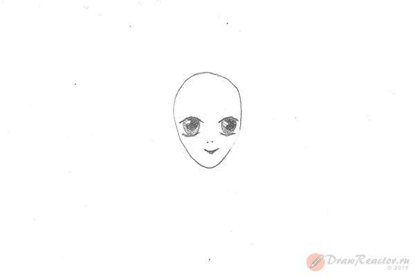 Как нарисовать аниме девушку. Шаг 3.