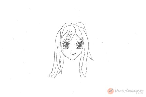 Как нарисовать аниме девушку. Шаг 4.