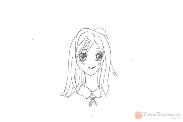 Как нарисовать аниме девушку. Шаг 5.