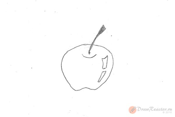 Рисунок яблока. Шаг 3.