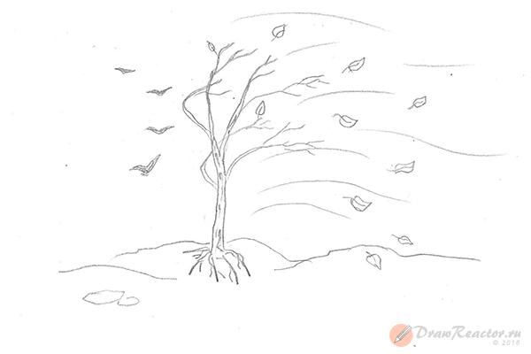 Как нарисовать осень. Шаг 5.