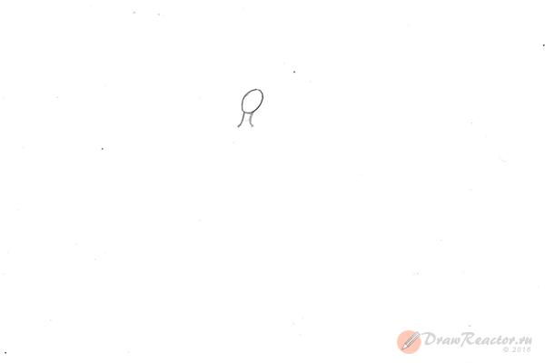 Как рисовать балерину. Шаг 1.