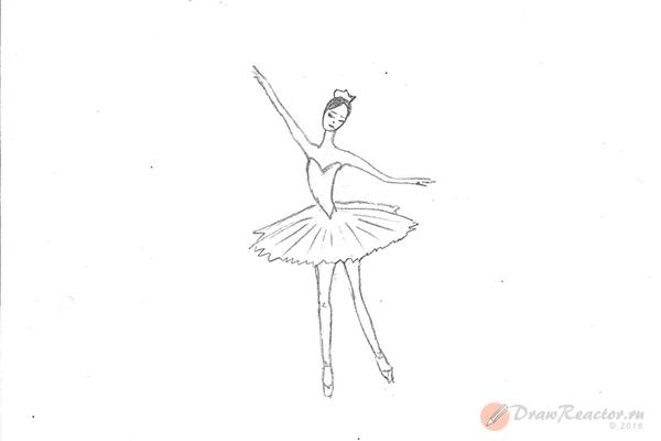 Как рисовать балерину. Шаг 5.