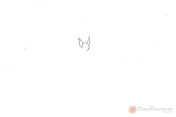 Рисунок летучей мыши. Шаг 1.