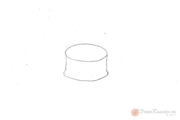 Рисунок торта со свечами. Шаг 2.